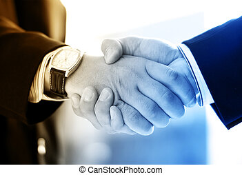 Handshake and a city Abstract business concept