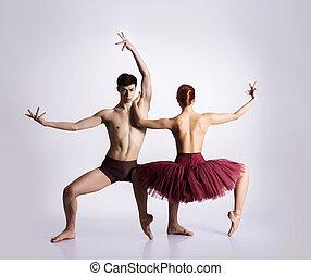 pareja, de, joven, y, atlético, ballet, bailarines,