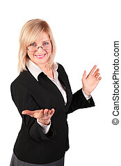 middleaged woman  makes  inviting gesture