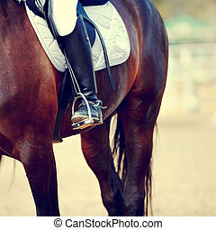 Foot of the athlete in a stirrup