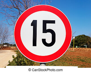 Traffic sign - road sign speed limit, outdoor shoot