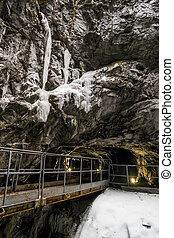 An abandoned tunnel in the marble quarry Ruskeala in...