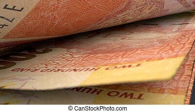 séparé, billets banque, gros plan, détail,