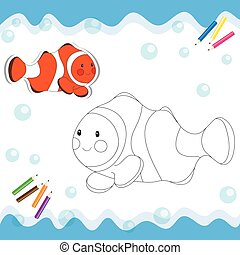 Coloring book - Cartoon clownfish isolated on white Coloring...
