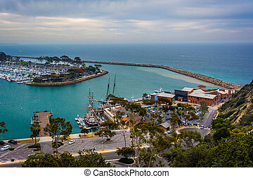 View of the harbor and Pacific Ocean from Hilltop Park in...