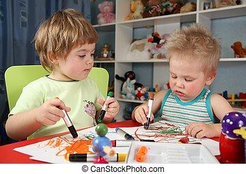 deux, enfants, peinture