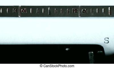 Typewriter. Typing text: Sorry - Typewriting on an old...