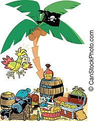 cartoon pirate attributes - The illustration presented from...