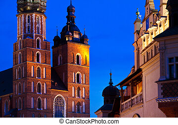 St Marys church in Krakow at night - St Marys church and...