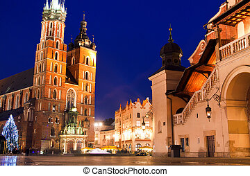 St. Mary's church in Krakow at night - St. Mary's church and...