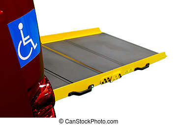 Car ramp for wheelchair user - Close up of International...