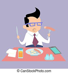 Business lunch office worker businessman eats