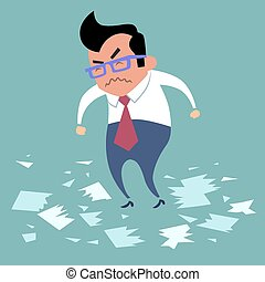 Businessman angry office work boss torn documents, a bad...