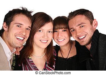 Four friends faces close-up