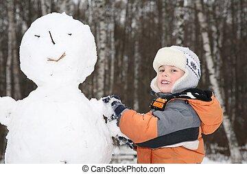 Menino, faz, boneco neve, 2
