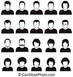 vector people icon, user - set of flat avatar, vector people...