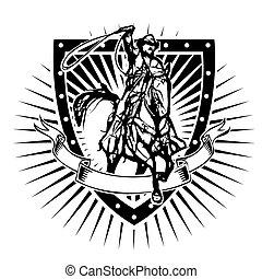cowboy shield - cowboy  on the shield