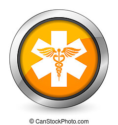 オレンジ, 病院, アイコン, 緊急事態, 印