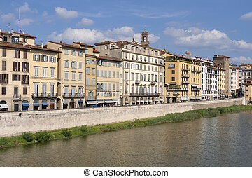 Florence Arno river embankment in Tuscany, Italy