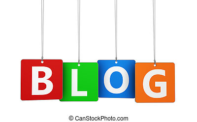 Blog Word On Tags - Website, Internet and blog concept with...