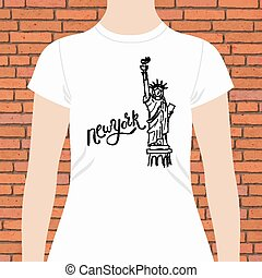 New York T-Shirt with Statue of Liberty Design