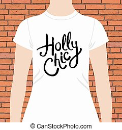 Holly Chic t-shirt template design with simple elegant black...