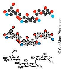 Kanamycin, antibiótico, droga, molécula, (aminoglycoside).,