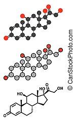 Prednisolone corticosteroid drug molecule Stylized 2D...