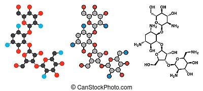Paromomycin aminoglycoside antibiotic drug molecule Stylized...
