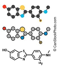 Flutemetamol (18F) PET tracer molecule. Used to diagnose Alzheimer's disease.