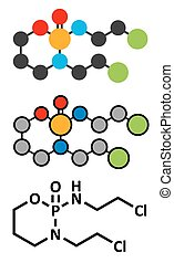 Ifosfamide cancer chemotherapy drug molecule. Stylized 2D...