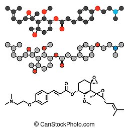 Beloranib obesity drug molecule. Stylized 2D renderings and...
