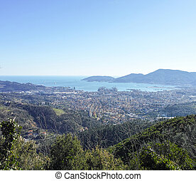 la spezia - aerial view of la spezia and the gulf in summer...