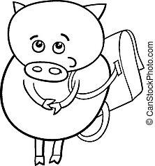 piglet with satchel coloring page - Black and White Cartoon...