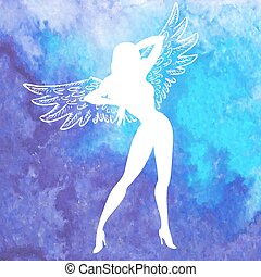 Vector silhouette of sexy woman with wings - Vector white...