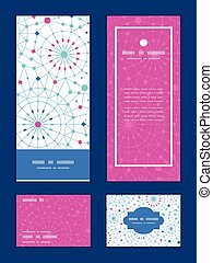 Vector blue abstract line art circles vertical frame pattern...