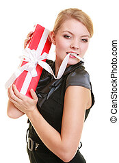 holidays love happiness concept - girl with gift box -...