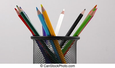 Pencils in Box on White Background