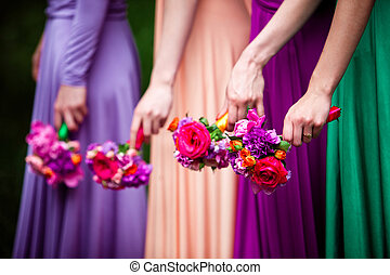 Bridesmaids on wedding - Bridesmaids in colorful dresses...
