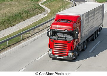 Truck - Red truck running on the highway