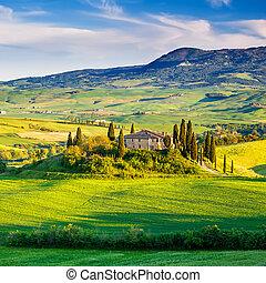 Tuscany landscape at sunset - Beautiful Tuscany landscape at...