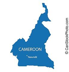 blue map of Cameroon