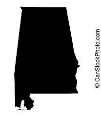 black map od Alabama