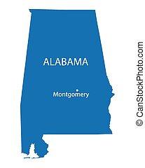 blue map od Alabama