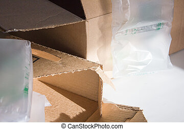 Empty Boxes Packing Material Horizontal - An image of empty...