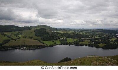 Elevated PAN view of Ullswater - Elevated view of Ullswater...