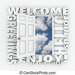 Welcome Open Door Hello Friendly Service Guest Invitation...