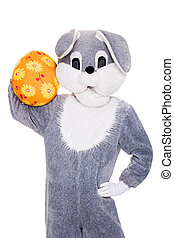 Bunny, egg, Easter, rabbit - Big plush bunny hold Easter egg...