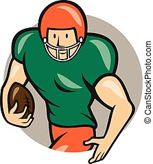 American Football Running Back Circle Cartoon - Illustration...