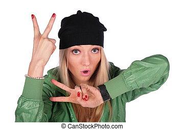 hip-hop girl gesture V